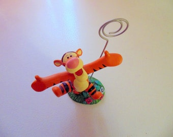 Rare Disney/Tigger/Figurine/Card holder/Photo holder/Picture holder/Winnie the Pooh/Statue/A.A. Milne/Bouncing Tigger/Girls room/Office