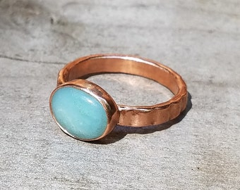 Peruvian Opal and Copper Stacking Ring ~ Size 7.25 ~ Vintage Copper Band Upcycled Jewelry