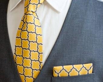 Necktie, Neckties, Mens Necktie, Neck Tie, Mens Necktie, Groomsmen Necktie, Ties, Tie, Groomsmen Gift, Wedding Neckties - Yellow Lattice