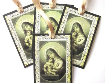 Religious Gift Tags Holiday Gift Tags Handmade Mary Jesus French Holy Card