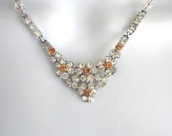 Rhinestone Assemblage Crystal Necklace Wedding Jewelry