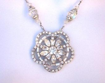 Rhinestone Assemblage Statement Necklace Bridal Jewelry Repurposed Vintage Crystal Jewelry