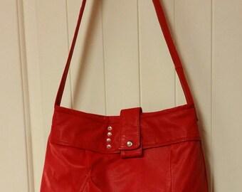EVERYTHING ON SALE clearance priced - Handmade Christmas Red Leather Jacket Handbag - Tote Bag - Purse