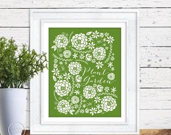 Plant a Garden Flower Pattern Art Green - Instant Download