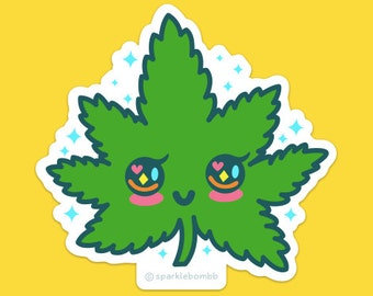 Kawaii Mary Jane Sticker, weed, pot, 420, vinyl, hash, blunt