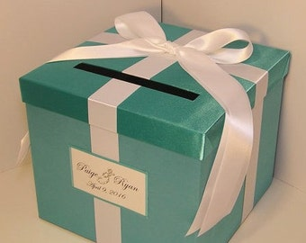 Wedding  Card Box Turquoise and White Gift Card Box Money Box Holder--Customize  your color