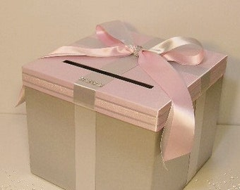 Wedding Card Box Silver and Light Pink Gift Card Box Money Box Holder--Customize your color/made to order (10x10x9)