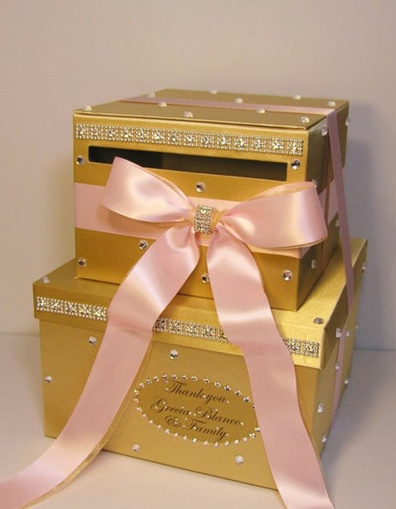 Gold Wedding Gift Box : Wedding Card Box Light Pink and Gold ,Gift Card Box Money Box Holder ...