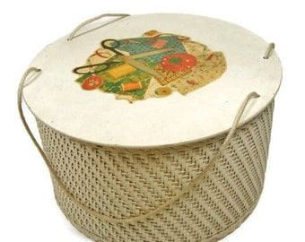 Wicker Sewing Basket Vintage Wooden Wicker Basket Round Wicker Sewing Box