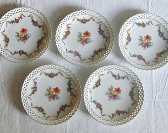 Set of 5 Five Bavaria Schumann Floral Plates, Wall Hanging Decorator Plates, Lacey Pierced Edge, Bavarian China