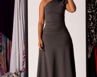 one-shoulder block sleeve dress