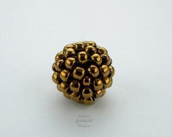 Bronze handmade beads, metallic beads, beaded beads, handwoven beads, MADE TO ORDER hand stitched beads, bronze 10mm beads, woven beads