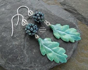 Mermaid's Garden berry earrings, blackberry earrings, leaf earrings, teal earrings, sterling silver, nature inspired