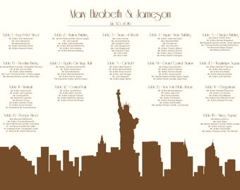Statue of Liberty Seating Chart Skyline NYC Digital Design Printable PDF Custom Personal Poster Print File ONLY New York