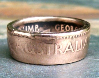 Bronze Australian Coin Ring - 1942 Australia One Penny Coin Ring - Size: 9 3/4