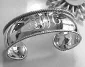 Sterling Silver Engravable Cuff Bracelet, Monogrammed Cuff Bracelet, Personalized Cuff Bracelet, Silver Initial Bracelet, Bride Jewelry