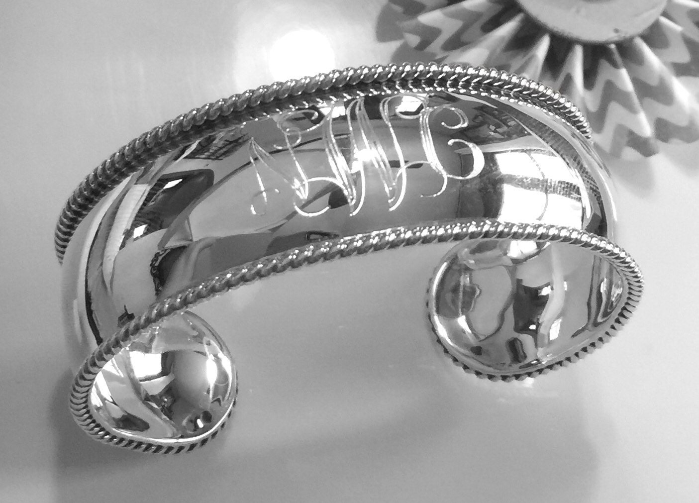 sterling silver engravable cuff bracelet monogrammed cuff. Black Bedroom Furniture Sets. Home Design Ideas