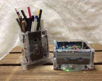 Cassette-inspired Pen holder & Rubberbands or paperclip holder, 1990's / 1980's office supplies