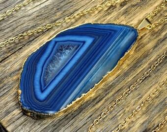 Valentine SALE - Blue Agate, Blue Agate Necklace, Agate Necklace, Blue Agate Pendant, Agate Slice Necklace, Agate Gold Necklace, 14k Gold...