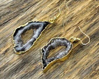 Valentine SALE - Geode Earrings, Geode Gold Earrings, Geode Slice Earrings, Geode Pendant Earrings, 14k Gold Fill Ear Wire