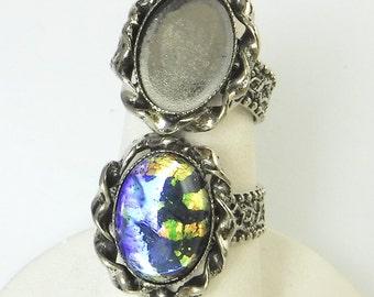 2 pcs Silver Ring Blanks 14x10 Adjustable Vintage Antique Silver Ring R-10