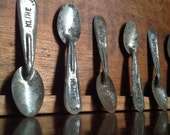 Vintage Kline Dairy Testing / Tasting Spoons. Antique Tin Spoons. Set of 5.