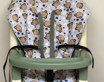 Graco high chair pad, chair cushion, kids and baby feeding chair, baby accessory, chair pad replacement, nursery, child care,monkeys on gray