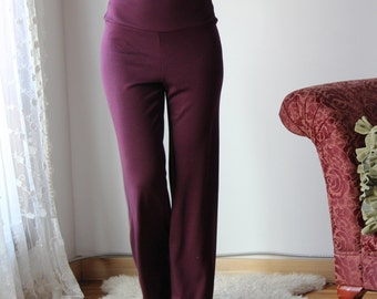 high waisted wool lounge pants with wide leg in double knit wool knit - HEARTH - made to order