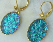30% OFF Blue Drop Earrings Teal Blue Starburst  Vintage Glass Earrings in Gold