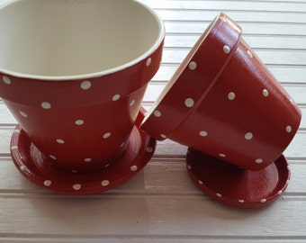 Painted Flower Pot - Polka Dots - 4 Inch Planter - Polka Dot Planter - Herb Planter - Succulent Planter