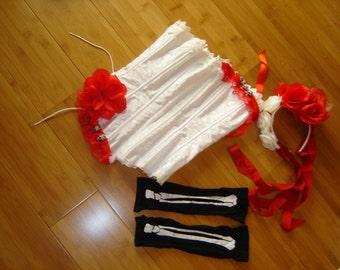 Day of the Dead Goth steampunk hite corset women sz 5 6  Halloween Costume Dia de los Muretos