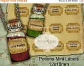 SALE 30% OFF - Potions Mini Labels 12x18mm Bottle Pendants - Apothecary Labels - Collage Potion Labels - Collage Bottle Labels - Digital Bot