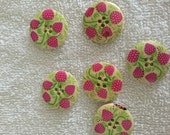 6 pcs painted wood buttons 4 holes  30mm 1.1811 inches flower pink green  sewing scrap booking knitting supplies