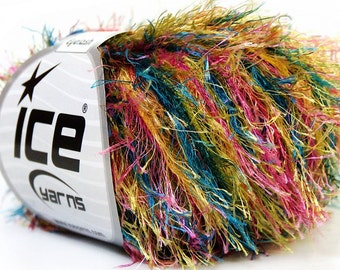 ICE YARNS COLORFUL green yellow pink blue  1 skein 50gr bulky polyester chunky craft rug yarn turkish us 10 82 yards  33979