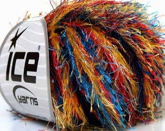 ICE YARNS COLORFUL Yellow Red Orange Blue  1 skein 50gr bulky polyester chunky craft rug yarn turkish us 10 82 yards  33980