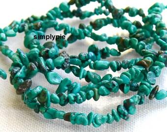 Blue Turquoise Gemstone Tumbled Chip Beads 15-Inch Strand