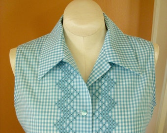 Handmade Summer Blouse With 60s Vibe, Vintage Style Hand Embroidery on Turquoise Aqua Gingham, Size 10 Bust 38