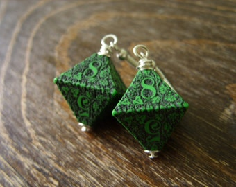 D8 earrings forest dice earrings die green dice jewelry pathfinder dice dungeons and dragons