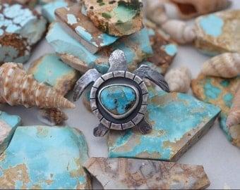 Arizona Turquoise Sterling Silver Handmade Sea Turtle