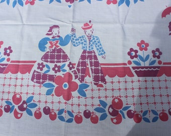 "Broderie Tablecloth Mid Century Pink Purple Blue Kitsch 51"" x 46"" VINTAGE by Plantdreaming"
