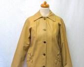 1950s / 60s Vintage Samuel Robert Leather Jacket / Butter Cream Horse Bit Detail Jacket