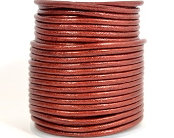 3mm Indian Leather - Maroon Metallic - 3MR-245- Choose Your Length