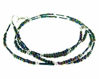 Multicolor black beaded break away ID badge holder, necklace and more- gold or silver