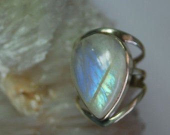Rainbow moonstone sterling silver ring size 10