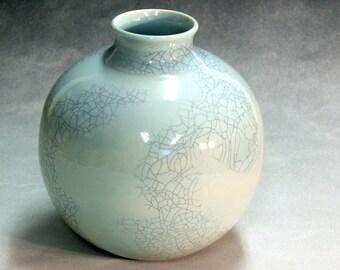 Porcelain bottle shaped, hand made, ceramic vase copper blue with crackle glaze celadon blue for home decoration or wedding gift