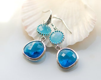 Turquoise dangle earrings, two tone turquoise earrings, Blue crystal earrings
