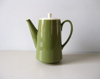 Vintage 1960s coffee pot Avocado green coffee pot Mod coffeepot