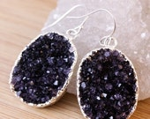 50% OFF Violet Black Oval Druzy Gemstone Earrings - Statement Earrings - Minimalist Jewelry