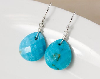 Natural Turquoise Teardrop Earrings – 925 Sterling Silver or 14Kt Gold Filled