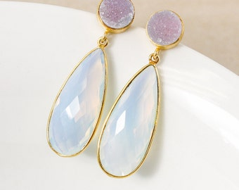 50% OFF SALE - Pink Druzy and White Opalite Dangle Earrings – Gold Plated